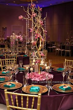 When our bride, Priyanka, told us she was inspired by rich colors like royal deep purples, gold, champagne, teal and sapphire, we knew that a Peacock themed decor was in order for her and Arun's wedding reception.  Not only does a peacock epitomize beauty, it also serves as a meaningful symbol in many cultures. ...