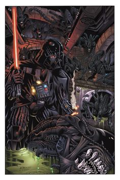 Star Wars Darth Vader & Stormtroopers VS Aliens & Predator, by David Hillman (Penciler), Mark McKenna (Inker), & Tom Chu (Colorist)! Alien Vs Predator, Star Wars Fan Art, Dark Vader, Starwars, Art Alien, Anakin Vader, Anakin Skywalker, Cuadros Star Wars, V Force