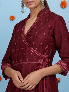 Buy Maroon Embroidered Chanderi Angrakha Kurta with Cotton High-Low Pants and Dupatta - Set of 3 onl Salwar Neck Designs, Kurta Neck Design, Neckline Designs, Kurta Designs Women, Dress Neck Designs, Blouse Designs, Angrakha Style, Embroidery Suits Design, Gold Embroidery
