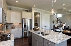 Kitchen With Large Serving Island; The Buchanan Floor Plan, Drees Homes,  Raleigh