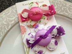 Toddler Hair Clips - Baby Hair Clips - Set of 2 - Purple Pink Hair Bows - Infant Hair Bows - Girl Hair Clips. $5.50, via Etsy.