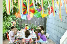 outdoor patio birthday party  #streamers #simple