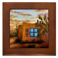 """'Adobe Summer' Framed Tile by CafePress by CafePress. $15.00. Frame measures 6"""" X 6"""" x 0.5"""" with 4.25"""" X 4.25"""" tile. Two holes for wall mounting. 100% satisfaction guarantee return policy. Rounded edges. Quality construction frame constructed of stained Cherrywood. The perfect gift for those who love the southwest and adobe homes"""