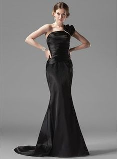 Mermaid One-Shoulder Court Train Charmeuse Evening Dresses With Ruffle beading