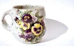 Stunning Handmade Floral Mug  Unique Coffee by polishgirlpottery