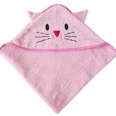 Toalla Toallón con capucha Gatito - quimaydesign                                                                                                                                                                                 Más Hooded Bath Towels, Baby Sewing, Craft Fairs, Coin Purse, Embroidery, Wallet, Outlines, Pink, Crafts