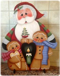 HP SANTA with Gingerbread SHELF SITTER    eBay Wooden Christmas Crafts, Christmas Projects, Christmas Decorations, Christmas Ornaments, Holiday Decor, Xmas, Tole Painting Patterns, Craft Patterns, Decor Crafts