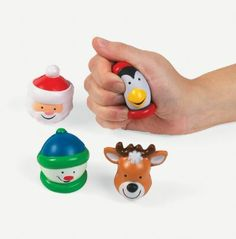Christmas Character Relaxable Squeeze Balls. Great office gifts and stocking stuffers!  Assortment - features Santa, a snowman, a penguin and a reindeer  Each 5.7 cm foam ball begs to be squeezed!   Price is per (1) ball; assorted designs