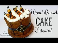 Check out this super easy tutorial on how to make a wood barrel cake with alcohol bottles at the top. I wanted to make the ice more realis. Cake Decorating For Beginners, Cake Decorating Tips, Whiskey Barrel Cake, Jack Daniels Cake, Alcohol Cake, Holy Communion Cakes, Bottle Cake, Wood Cake, Dessert Decoration