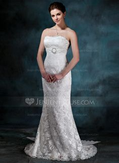 Wedding Dresses - $214.99 - Trumpet/Mermaid Strapless Watteau Train Chiffon Lace Wedding Dress With Ruffle Crystal Brooch Bow(s) (002000134) http://jenjenhouse.com/Trumpet-Mermaid-Strapless-Watteau-Train-Chiffon-Lace-Wedding-Dress-With-Ruffle-Crystal-Brooch-Bow-S-002000134-g134