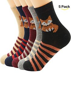 Zando Womens Casual Crew Soft Wool Winter Fall Warm Socks Cute Retro Knitting Cushion Wool Socks 5 Pack 5 Pack  Fox One size >>> Want to know more, click on the image.  This link participates in Amazon Service LLC Associates Program, a program designed to let participant earn advertising fees by advertising and linking to Amazon.com.