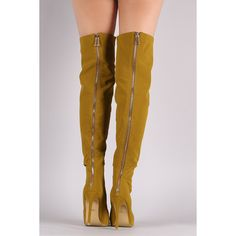 Nubuck Peep Toe Stiletto Over-The-Knee Boots ($94) via Polyvore featuring shoes and boots