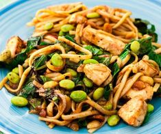 Peanut chicken with soba noodles. buckwheat soba noodles instead of pasta in this Asian-inspired chicken dish. It's loaded with leafy greens, fresh edamame and crunchy peanuts. Enjoy hot or cold! Chicken Flavors, Healthy Chicken Recipes, Chicken Recipes Under 300 Calories, Healthy Meal Prep, Healthy Eating, Healthy Food, Healthy Cooking, Clean Eating Recipes, Cooking Recipes