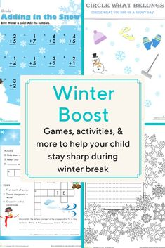 Winter break doesn't have to mean a break from learning. We've bundled up games, activities, and more to help your child stay sharp and have fun into the new year. Learning Games, Math Games, Kids Learning, Mazes For Kids, Hands On Activities, Kindergarten Activities, Math Skills, Lesson Plans, Child