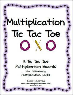 FREEBIE Multiplication Tic Tac Toe from Games 4 Learning combines the fun of Tic Tac Toe and with practice of basic multiplication facts. Enjoy!