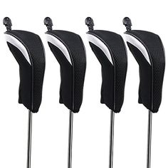 Hipiwe Golf Hybrid Club Head Covers Set 4pcs Club Irons Headcovers with Interchangeable No. Tag