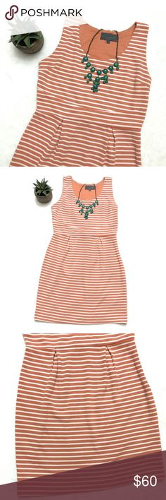 ANTHROPOLOGIE Orange Sherbet Striped Sheath Dress ANTHROPOLOGIE Orange Sherbet Striped Sheath Dress by Sunday in Brooklyn, size large. Adorable sleeveless dress can be worn all seasons with a cute cardi and Flats for the office! Anthropologie Dresses