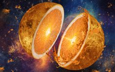 Download wallpapers oranges, art, fruits, space, creative