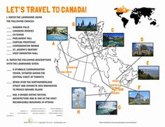 """Oh, Canada!"" Whether you've been to Canada or planning a trip or neither, give this worksheet a try. Match up the landmarks with their locations on the map Canada and answer the trivia questions. Geography Worksheets, Social Studies Worksheets, Kids Math Worksheets, 5th Grade Social Studies, Teaching Geography, World Geography, Teaching Social Studies, Canada For Kids, Canada Summer"