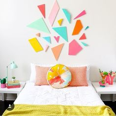 Who needs a pop of color on this bleak January morning? This geometric goal headboard was another one of my favorite DIYs from last year.