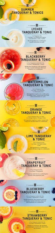 Gin and Tonics // tanqueray gin, tonic water, elderflower liqueur, lime, lychee, blackberries, lemon, lime juice, watermelon juice, cointreau, orange, lime cordial, grapefruit, blueberries, strawberries