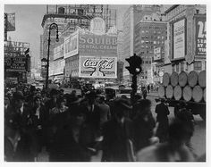 1920s Times Square NYC New York City VINTAGE Photo Coca Cola Sign Squibb Dental Cream