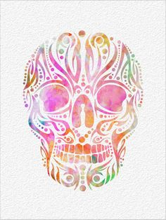 SKULL  Archival Watercolor Art Print  5 x 7 by ImageDeSignStudio, $15.00