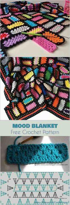 Mood Blanket - spectacular scraps and granny rectangles Free Crochet Pattern #freecrochetpatterns #crochetblanket #grannysquare
