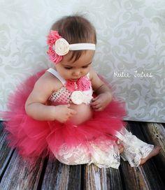 The Gabriella Tutu, Top, & Headband- Coral Pink, Pink, Ivory, Lace, Birthday, 1st birthday, Girl, Newborn, baby via Etsy