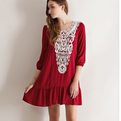 HP ❤️❤️❤️HP red lacy top sleeve dress lacy top sleeve dress posh-boutique  Dresses