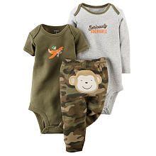 Carters Boys 3 Piece Olive Flying Monkey Bodysuit, Grey Seriously Adorable Bodysuit and Camo Monkey Applique Pant Set