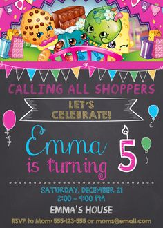 Shopkins birthday invitation Shopkins by SuperInstantParty on Etsy