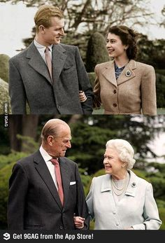 The same brooch The same pearls The same love. Beautiful photo of Queen and Prince Philip.