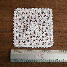 Miniature crochet square doily 6 cm dollhouse crochet
