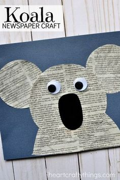 Fun and simple newspaper koala craft for kids, fun kids craft, animal crafts for kids, Earth Day crafts and preschool kids craft. SING movie inspired Koala craft for kids.