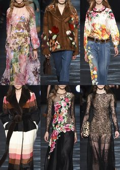 BLUMARINE | Applique Lace – Dusty Rose Prints – Painterly Florals – Big Bouquets – Lustre Surfaces – Striped Fur – Painted Denim – Over Scaled Embroidery – Floral Fur Inlays | MILAN | http://vogue.co.uk