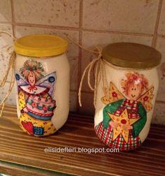 Konserve kavanozlarından baharat takımı yaptım;      Enamels boya ve sünger fırça ile kavanozları boyadıktan sonra meşhur country melek resi...