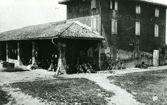 Gruppo di mondine della Cooperativa Lavoratori della terra di Bentivoglio (BO), riprese durante la pausa per il pranzo, sotto un portico di una casa colonica