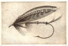 Fly Fishing Print Original Etching Northern by chartwellprint, $18.00