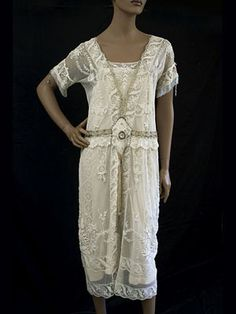 Couture quality, hand embroidered, beaded lace tea dress, c.1920.