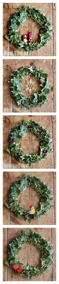 1 easy wreath - using whatever you can find in the garden - so many different ways to decorate! Gorgeous! These would be lovely Christmas Wreaths. They will last - but place them somewhere where they will be undisturbed as the leaves do dry.