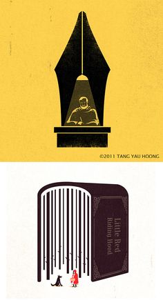 negative space illustrations, by tang yau hoong. i especially love the way the hanging lamp forms the split in the pen nib.