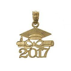 FB Jewels 10K Yellow Gold 2019 Graduation Cap and Diploma Pendant