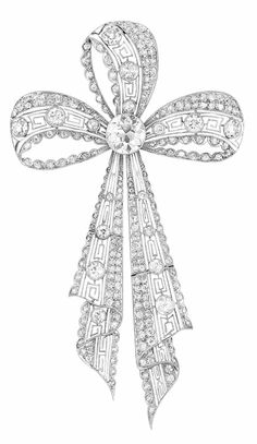Edwardian Platinum and Diamond Bow Brooch   Centering one collet-set old European-cut diamond approximately 2.25 cts., the ribbons fashioned of key-fret filigree, lined with numerous old-mine and old-mine single-cut diamonds, highlighted by 17 old European-cut diamonds approximately 2.25 cts., circa 1910