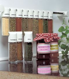 #Organize jars and spices in your #kitchen #pantry and with P-Touch labels. #Home #decor #jams #storage