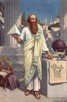 Pythagoras of Samos was an ancient Greek philosopher. He lived within Samos, Greece around the early 500 BC era. He is most famous for theorizing the Pythagorean Theorem. Masonic Art, Masonic Symbols, Greek History, Art History, Rose Croix, Classical Greece, Esoteric Art, Templer, Arte Obscura
