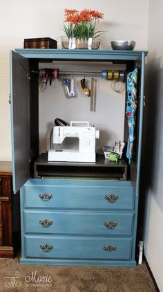 Armoire Turned Sewing Center | Remodelaholic