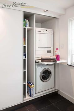 Clever Storage Ideas for Your Tiny Laundry Room. Wall Storage for Laundry Suppli… Clever Storage Ideas for Your Tiny Laundry Room. Wall Storage for Laundry [. Laundry Storage, Clever Storage, Washer And Dryer, Wall Storage, Cupboard Storage, Laundry Room Design, Closet Storage, Laundry, Storage