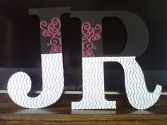 Decorated Wooden Letters - for James and Rachel's bedroom