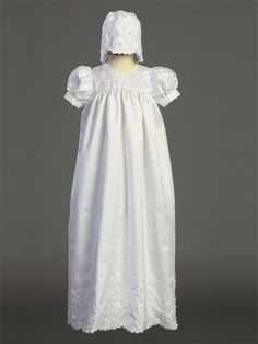 Adorable Baby Clothing - Embroidered Shantung Silk Christening Gown and Bonnet, $55.95 (http://www.adorablebabyclothing.com/embroidered-shantung-silk-christening-gown-and-bonnet/)